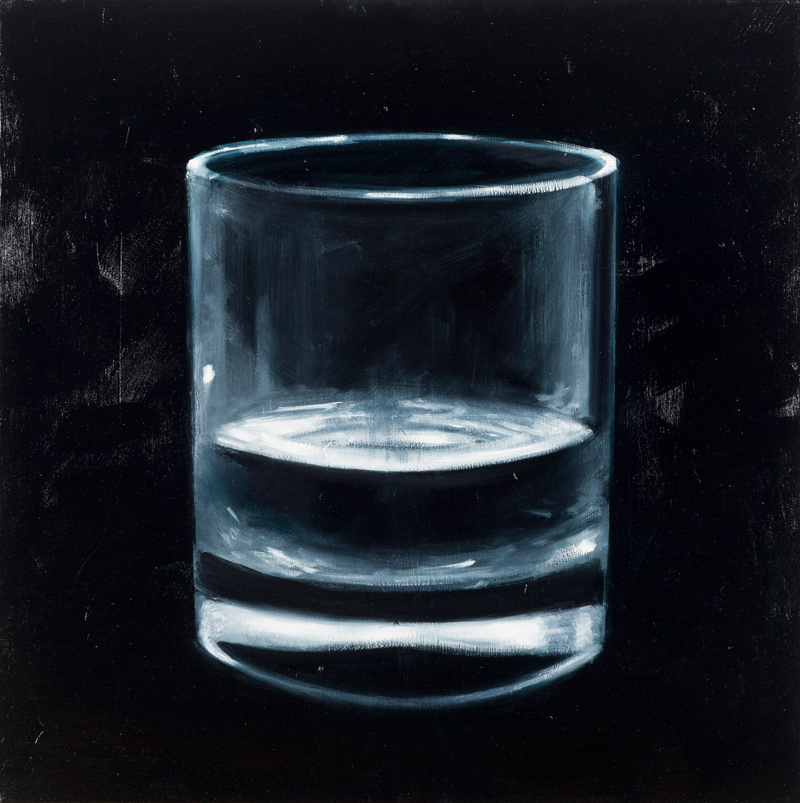 "Richard Kaplenig, ""Ohne Titel (Wasserglas)"", Öl auf Leinwand, 50 cm x 50 cm, Foto: Martin Lugger"