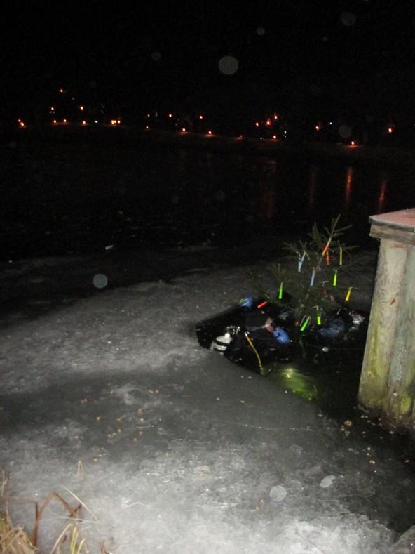 Zwei Taucher brachten den Christbaum unter Wasser. Beim Auftauchen wurden sie von Lichtern und Musik begrüßt.