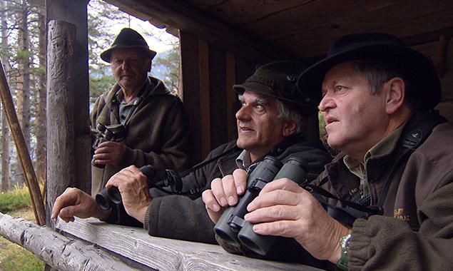 Beim Pirschgang (v.l.): Hermann Linder, Josef Kalser und Richard Zeiner. (Foto: ORF)