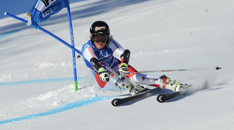 Die Siegerin Lara Gut bei ihrem Lauf.