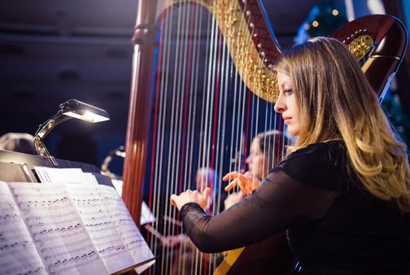 Stephanie Rauter an der Harfe.