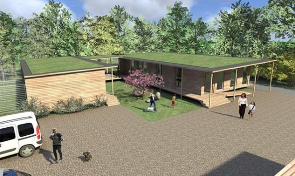 So soll das neue, eingeschossige Tierheim in Holzbauweise aussehen. Visualisierung: Firma Lusser