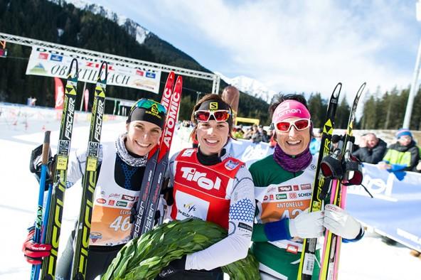 Die schnellsten Frauen in Obertilliach, von links: Aurelie Dabudyk, ElisaBrocard und Antonella Confortola.