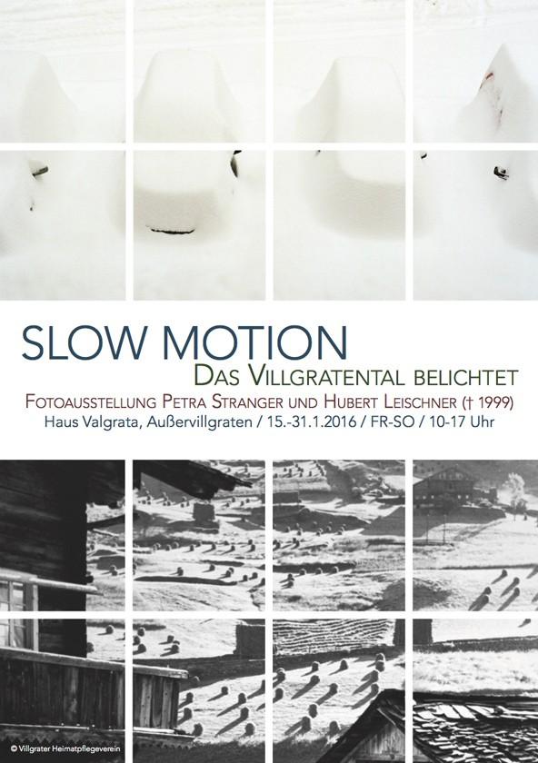 Die Ausstellung Slow Motion zeigt das Villgratental aus der Sicht Strangers und Leischners. Foto: Detail aus dem Einladungsfolder