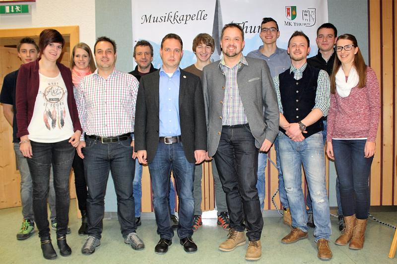 Das Vorstandsteam der Musikkapelle Thurn.